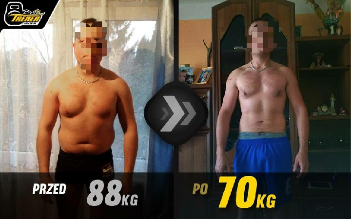 mężczyzna schudł i zbudował mięśnie