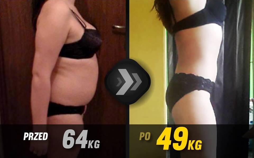 kobieta schudła, efekt przed i po